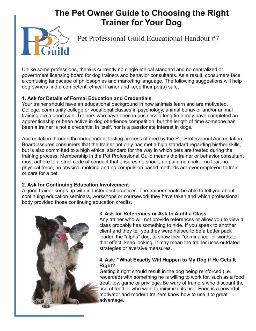 The Pet Professional Guild - Canine Advocacy